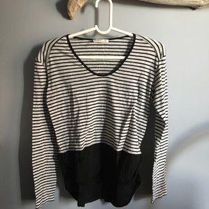 Black grey blocked long sleeve T-shirt